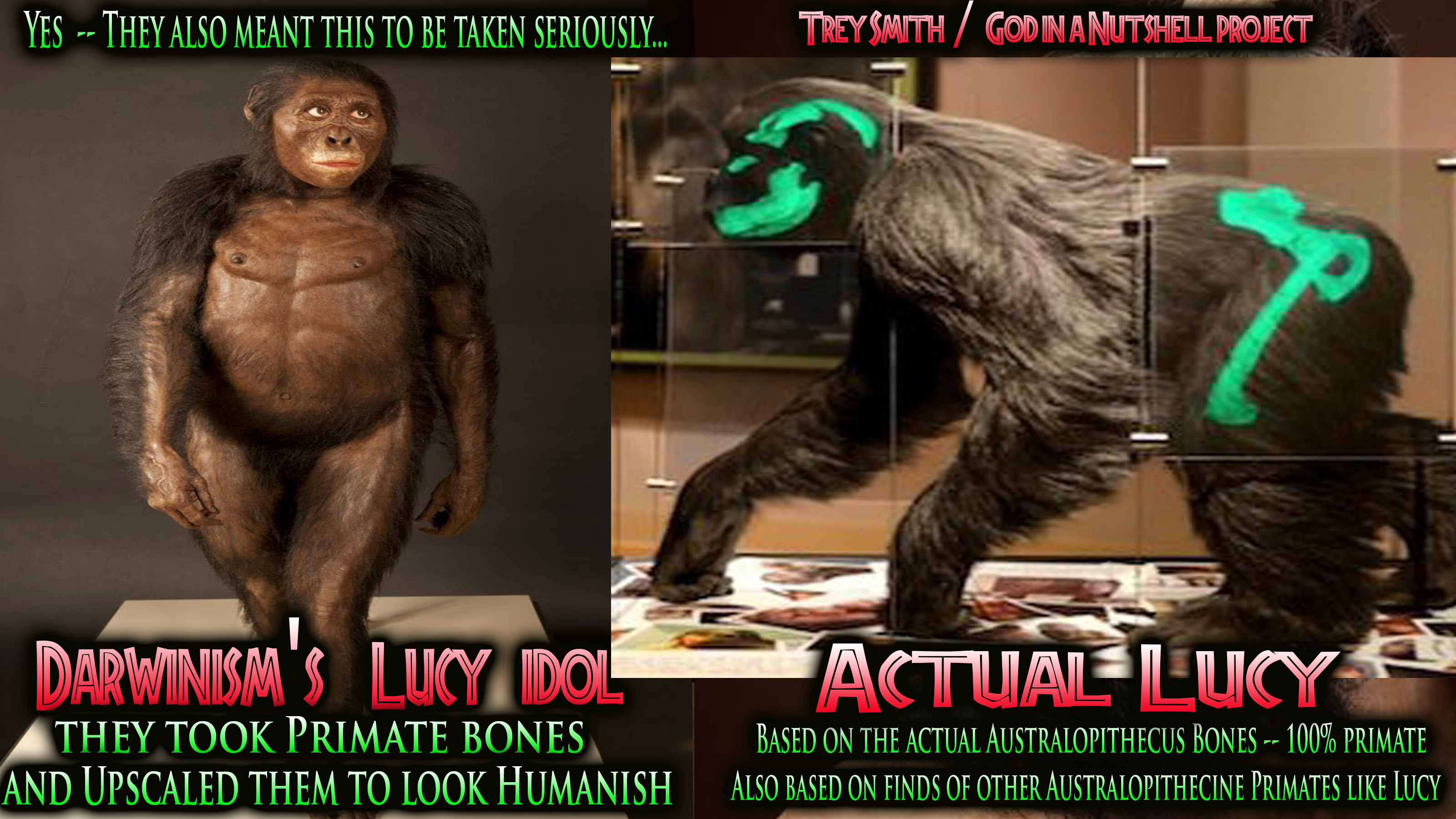 Lucy -- Evolutionism ReCreation -and-Reality.... They are two different worlds