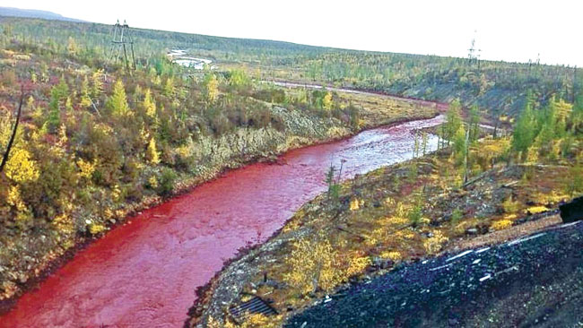 Blood Red Daldykan River, Norilsk, Russia