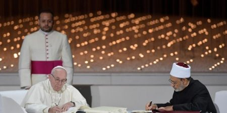 Pope Francis and Grand Imam of Al-Azhar, Ahmed el-Tayeb, Sign Document on Human Fraternity for World Peace and Living Together
